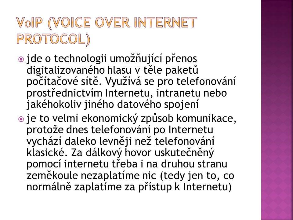  jde o technologii umožňující přenos digitalizovaného hlasu v těle paketů počítačové sítě.