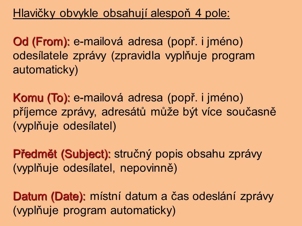 Hlavičky obvykle obsahují alespoň 4 pole: Od (From): Od (From): e-mailová adresa (popř.