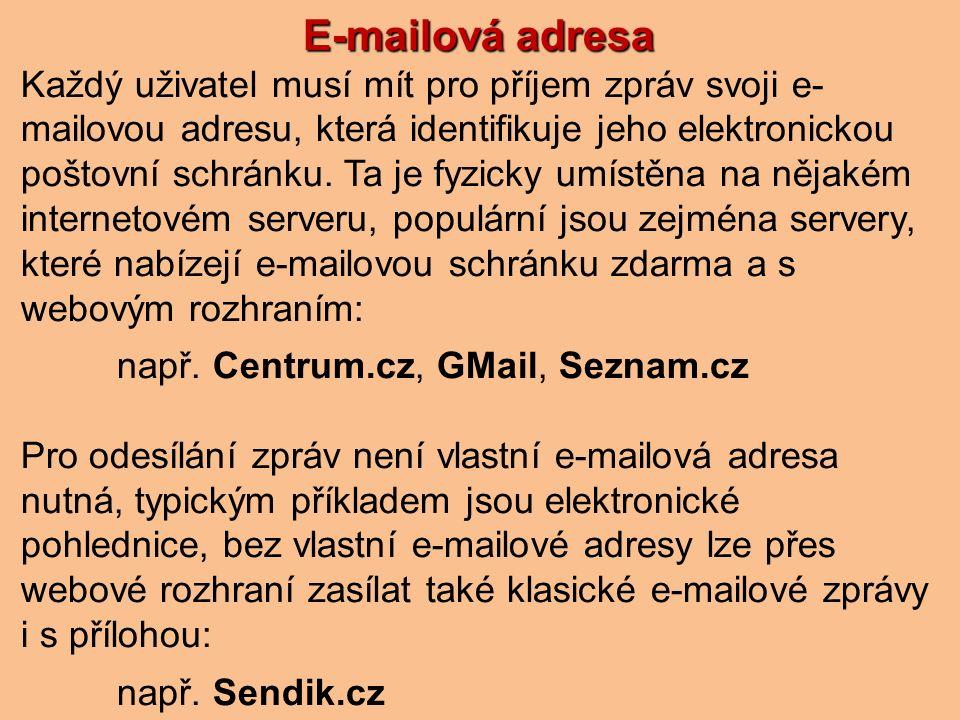E-mailová adresa Každý uživatel musí mít pro příjem zpráv svoji e- mailovou adresu, která identifikuje jeho elektronickou poštovní schránku.