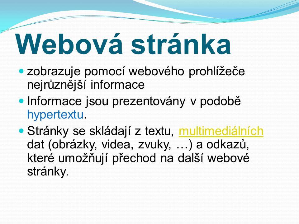 Webová stránka zobrazuje pomocí webového prohlížeče nejrůznější informace Informace jsou prezentovány v podobě hypertextu. Stránky se skládají z textu
