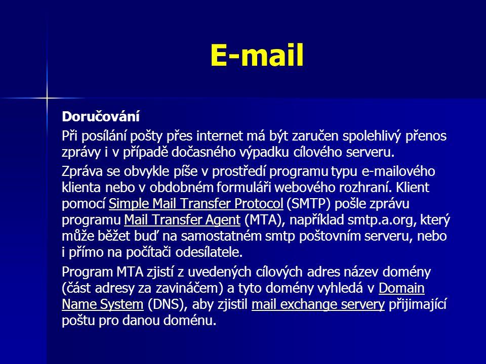Doručování Při posílání pošty přes internet má být zaručen spolehlivý přenos zprávy i v případě dočasného výpadku cílového serveru.