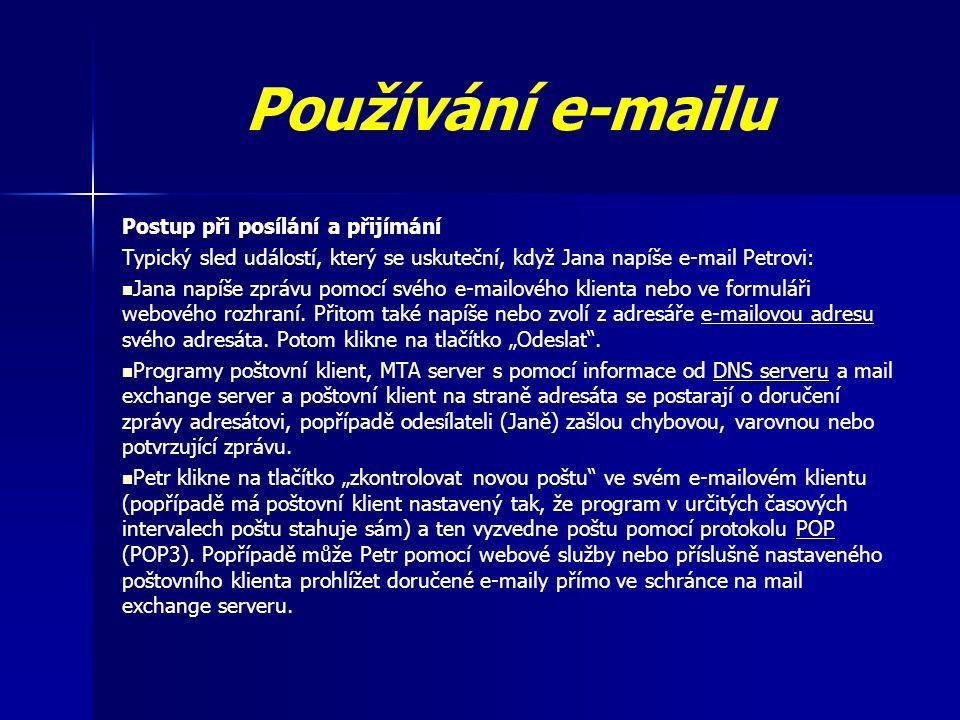 Používání e-mailu Postup při posílání a přijímání Typický sled událostí, který se uskuteční, když Jana napíše e-mail Petrovi: Jana napíše zprávu pomocí svého e-mailového klienta nebo ve formuláři webového rozhraní.