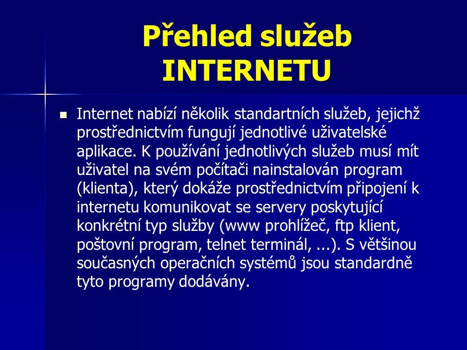 Přehled služeb INTERNETU Internet nabízí několik standartních služeb, jejichž prostřednictvím fungují jednotlivé uživatelské aplikace.