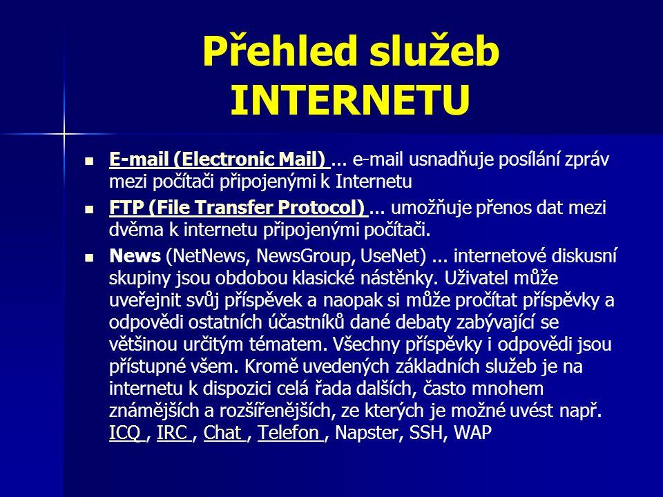 Přehled služeb INTERNETU Internetové bankovnictví – peněžní transakce bez komunikace s bankovními úředníky Internetový obchod – využití pro reklamu výrobků a prodeje pomocí Internetu Net Meeting (Konference, video-konference) Umožňuje vzájemnou komunikaci mezi uživateli internetu.