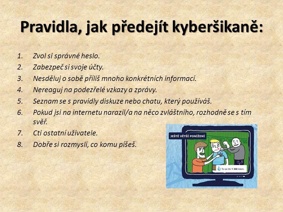 Pravidla, jak předejít kyberšikaně: 1.Zvol si správné heslo.