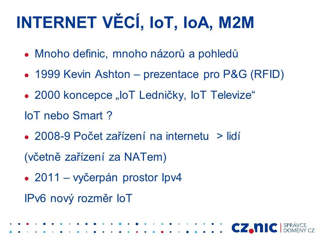 """INTERNET VĚCÍ, IoT, IoA, M2M Mnoho definic, mnoho názorů a pohledů 1999 Kevin Ashton – prezentace pro P&G (RFID) 2000 koncepce """"IoT Ledničky, IoT Televize IoT nebo Smart ."""