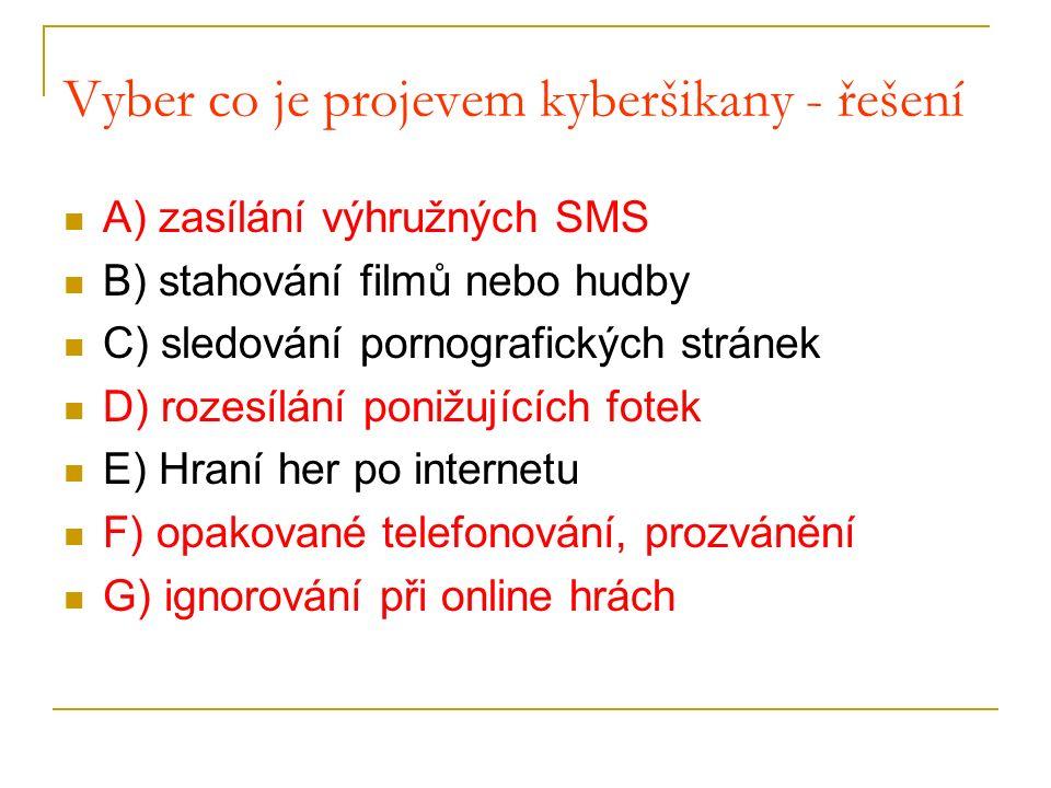 Vyber co je projevem kyberšikany - řešení A) zasílání výhružných SMS B) stahování filmů nebo hudby C) sledování pornografických stránek D) rozesílání