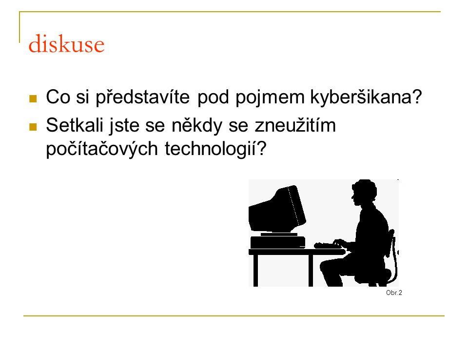 Kyberšikana zneužití ICT (informačních komunikačních technologií), zejména pak mobilních telefonů a internetu, k takovým činnostem, které mají někoho záměrně ohrozit, ublížit mu.