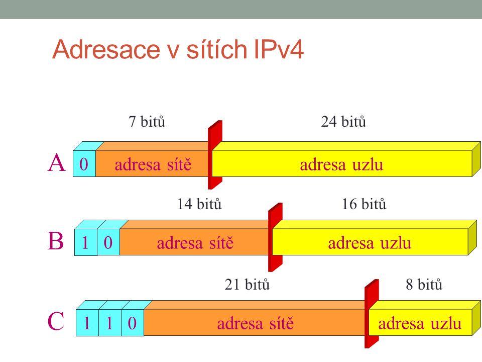 11 0 1 0 0 adresa sítě A B C 24 bitů 16 bitů 8 bitů 7 bitů 14 bitů 21 bitů adresa uzlu