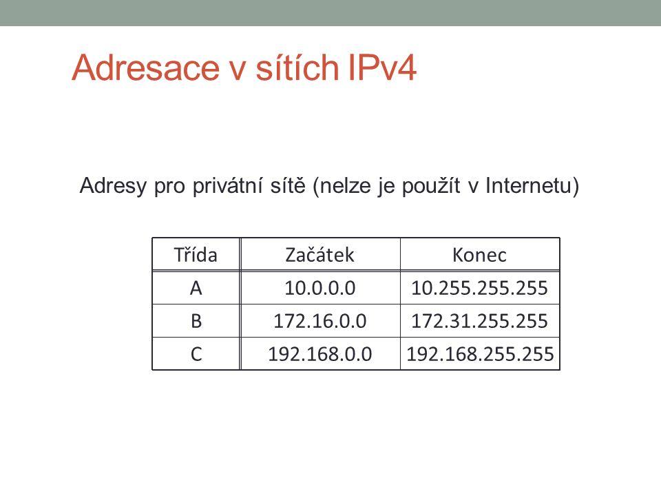Adresy pro privátní sítě (nelze je použít v Internetu) TřídaZačátekKonec A10.0.0.010.255.255.255 B172.16.0.0 172.31.255.255 C192.168.0.0 192.168.255.255 Adresace v sítích IPv4