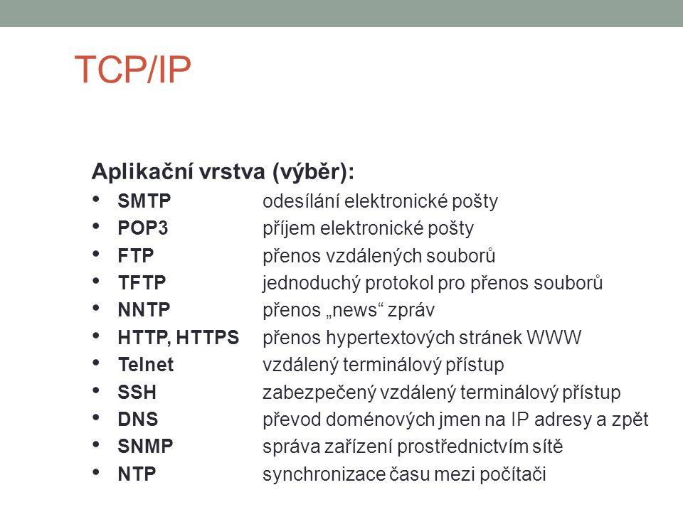 """TCP/IP Aplikační vrstva (výběr): SMTPodesílání elektronické pošty POP3příjem elektronické pošty FTPpřenos vzdálených souborů TFTPjednoduchý protokol pro přenos souborů NNTPpřenos """"news zpráv HTTP, HTTPSpřenos hypertextových stránek WWW Telnetvzdálený terminálový přístup SSHzabezpečený vzdálený terminálový přístup DNSpřevod doménových jmen na IP adresy a zpět SNMPspráva zařízení prostřednictvím sítě NTPsynchronizace času mezi počítači"""