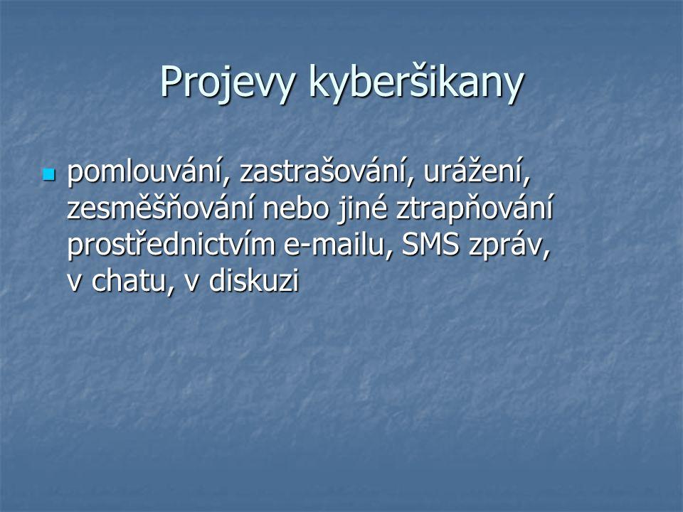 Projevy kyberšikany pomlouvání, zastrašování, urážení, zesměšňování nebo jiné ztrapňování prostřednictvím e-mailu, SMS zpráv, v chatu, v diskuzi pomlouvání, zastrašování, urážení, zesměšňování nebo jiné ztrapňování prostřednictvím e-mailu, SMS zpráv, v chatu, v diskuzi