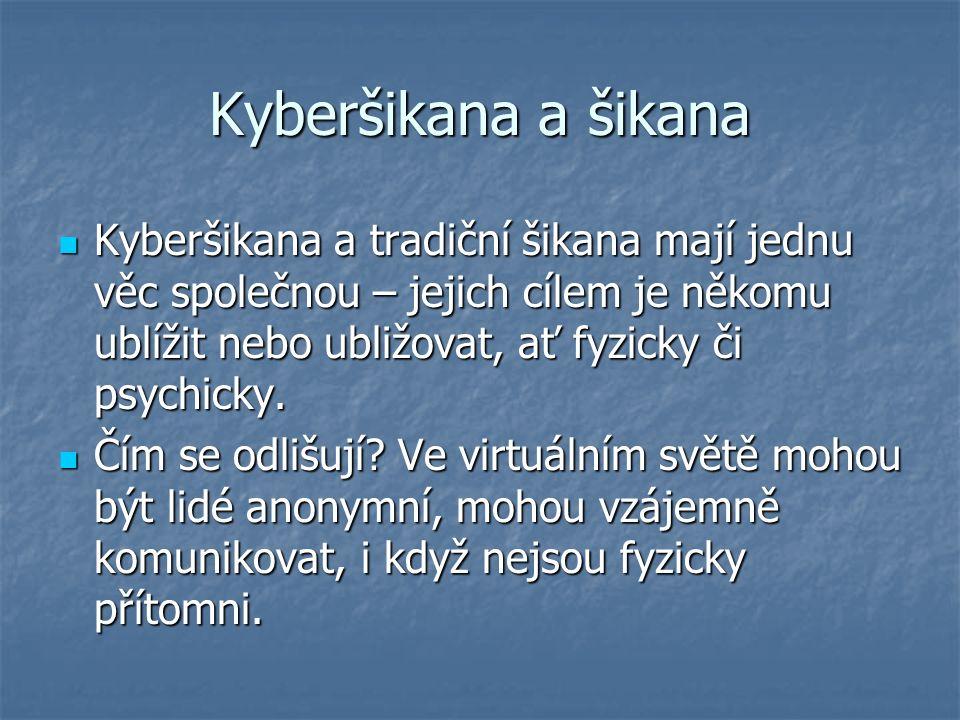 Kyberšikana a šikana Kyberšikana a tradiční šikana mají jednu věc společnou – jejich cílem je někomu ublížit nebo ubližovat, ať fyzicky či psychicky.
