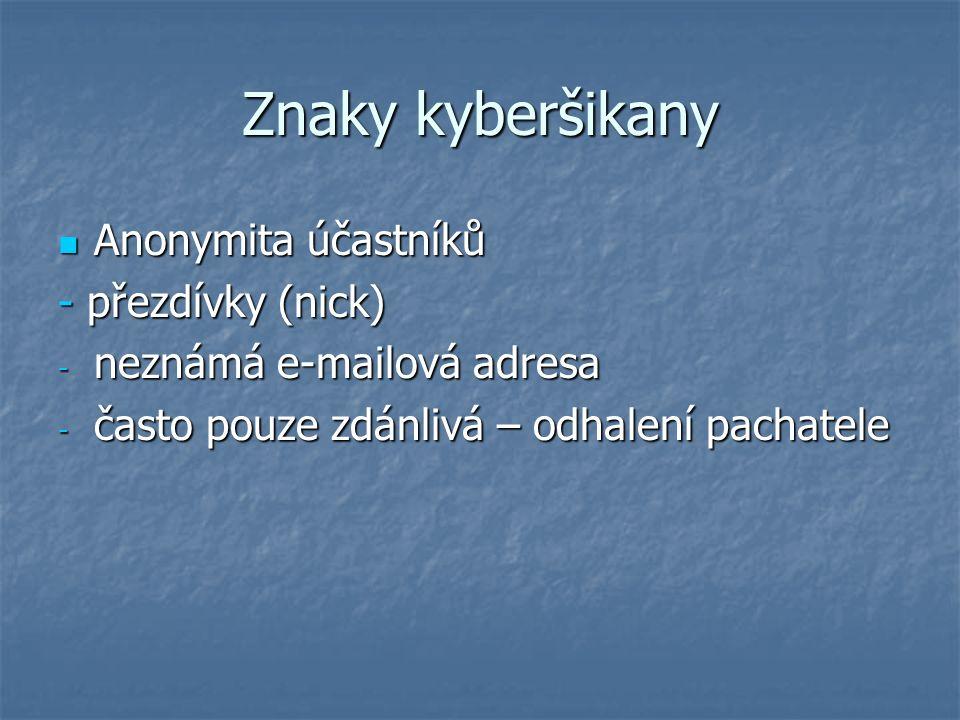 Znaky kyberšikany Anonymita účastníků Anonymita účastníků - přezdívky (nick) - neznámá e-mailová adresa - často pouze zdánlivá – odhalení pachatele