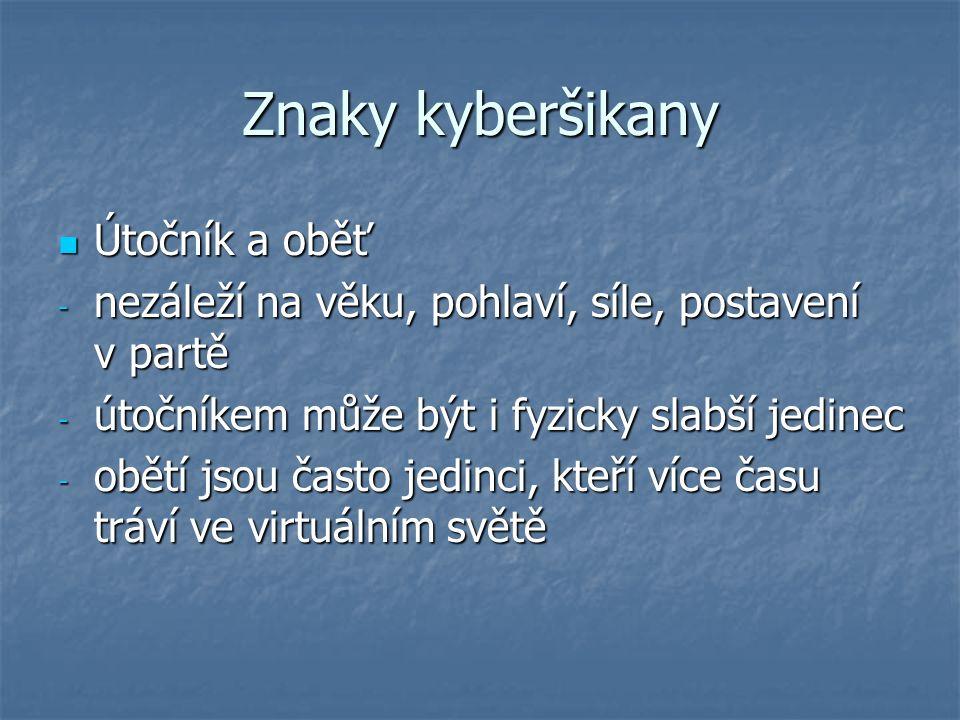 Zdroje Vacek, P. : Škola, učitelé a jejich strategie ve vztahu ke kyberšikaně www.e-bezpeci.cz