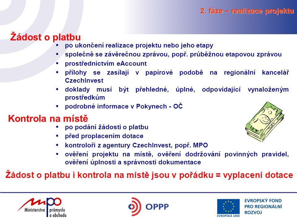 2. fáze – realizace projektu Kontrola na místě  po podání žádosti o platbu  před proplacením dotace  kontroloři z agentury CzechInvest, popř. MPO 
