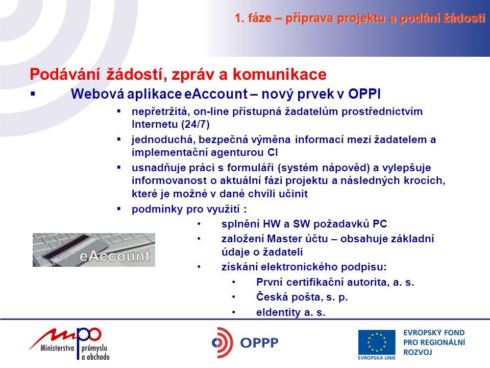 Podávání žádostí, zpráv a komunikace  Webová aplikace eAccount – nový prvek v OPPI  nepřetržitá, on-line přístupná žadatelům prostřednictvím Interne