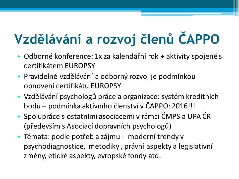 Vzdělávání a rozvoj členů ČAPPO Odborné konference: 1x za kalendářní rok + aktivity spojené s certifikátem EUROPSY Pravidelné vzdělávání a odborný rozvoj je podmínkou obnovení certifikátu EUROPSY Vzdělávání psychologů práce a organizace: systém kreditních bodů – podmínka aktivního členství v ČAPPO: 2016!!.