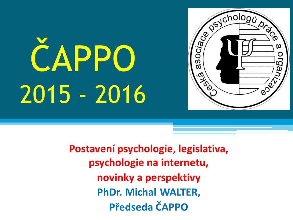 Mezinárodní aktivity V roce 2013 obnovilo ČAPPO členství v EAWOP http://www.eawop.org/ http://www.eawop.org/ Ze strany ČAPPO byla provedena nominace do EFPA Standing Committee WOP – komise bude pracovat v rámci EFPA a bude komunikovat s příslušnými evropskými komisemi Účast na jednáních SC WOP – přenos a sdílení informací, zapojení do aktivit, možnosti spolupráce se zahraničními kolegy, evropské projekty v ČR Účast na konferencích a workshopech EFPA, EAWOP – podle finančních možností Na kongres EAWOP 2015 v Oslo http://www.eawop2015.org/http://www.eawop2015.org/ jsme neměli dostatek finančních prostředků, přihláška byla zrušena