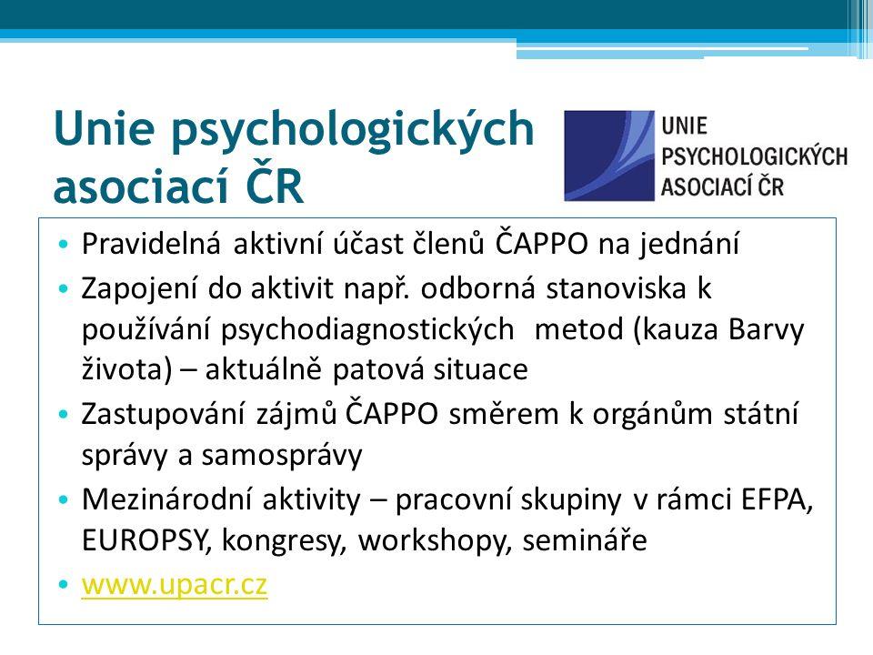 Unie psychologických asociací ČR Pravidelná aktivní účast členů ČAPPO na jednání Zapojení do aktivit např.
