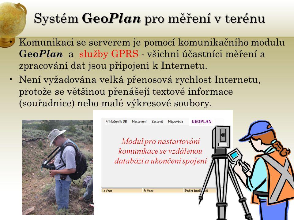 Systém Geo Plan pro měření v terénu Geo PlanKomunikaci se serverem je pomocí komunikačního modulu Geo Plan a služby GPRS - všichni účastníci měření a zpracování dat jsou připojeni k Internetu.