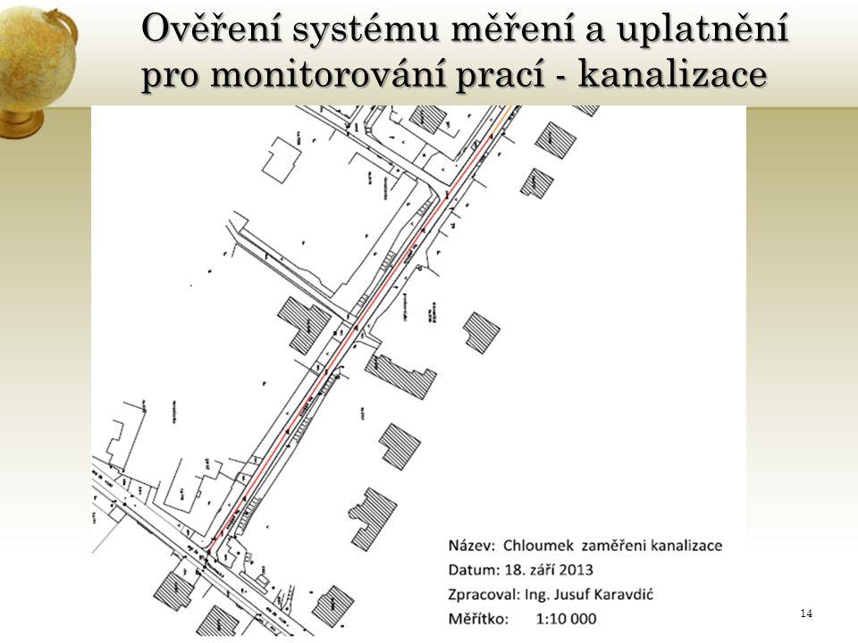 Ověření systému měření a uplatnění pro monitorování prací - kanalizace 25.11.201514