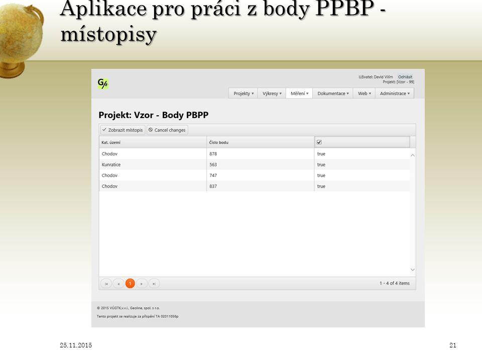 Aplikace pro práci z body PPBP - místopisy 25.11.201521