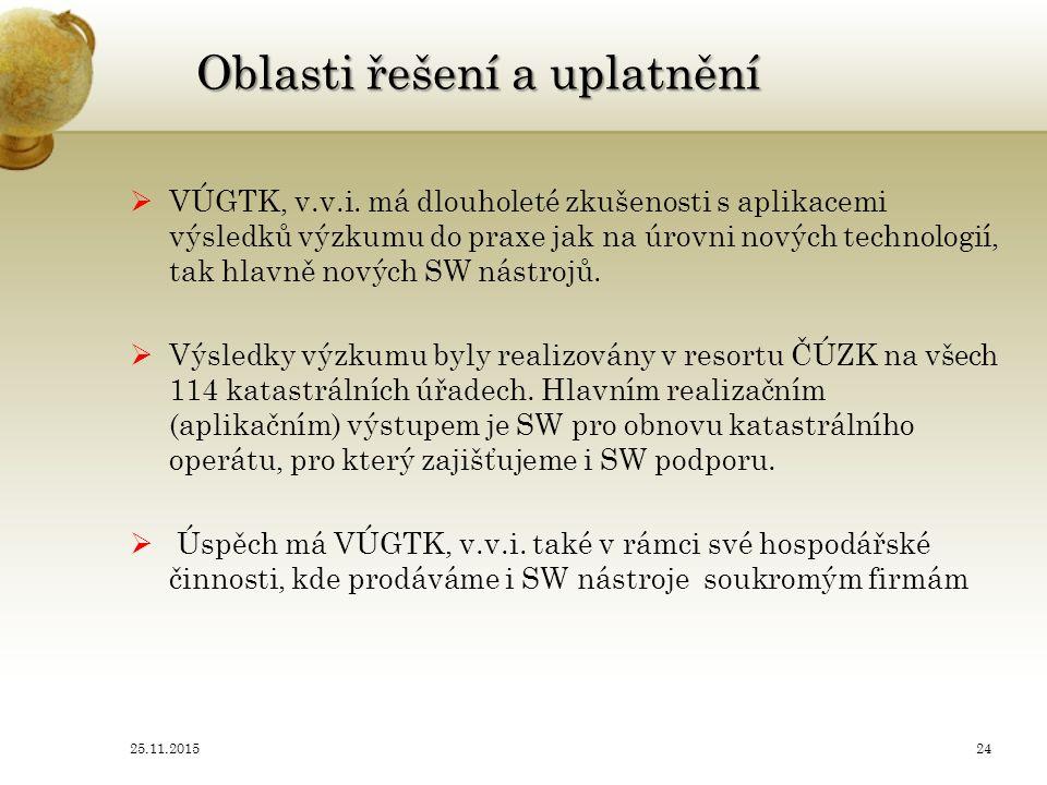 Oblasti řešení a uplatnění  VÚGTK, v.v.i.