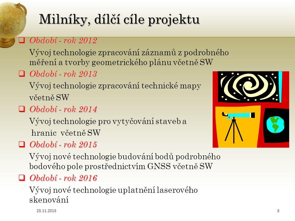 RIV výstupy projektu ( Rejstřík informací o výsledcích – RIV, IS výzkumu experimentálního vývoje a inovací  Výsledek projektu r.2012 1.Ověřená technologie 1.Ověřená technologie zpracování záznamů z podrobného měření a tvorby geometrického plánu 2.Software 2.Software pro zpracování měření a tvorbu geometrického plánu  Výsledek projektu r.2013 1.Ověřená technologie 1.Ověřená technologie zpracování technické mapy 2.Software 2.Software pro podporu tvorby technické mapy  Výsledek projektu r.2014 1.Ověřená technologie 1.Ověřená technologie pro vytyčování staveb a hranic pozemků 2.Software 2.Software pro podporu vytyčování staveb a hranic pozemků  Výsledek projektu r.2015 1.Ověřená technologie budování bodů podrobného bodového pole prostřednictvím GNSS 2.Software pro podporu budování bodů podrobného bodového pole prostřednictvím GNSS  Výsledek projektu r.2016 1.Ověřená technologie uplatnění laserového skenování 2.Software pro podporu uplatnění laserového skenování 25.11.20156