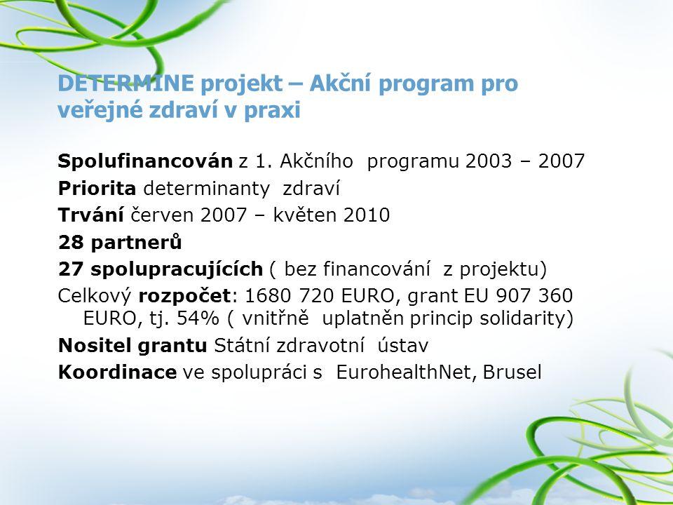 DETERMINE projekt – Akční program pro veřejné zdraví v praxi Spolufinancován z 1. Akčního programu 2003 – 2007 Priorita determinanty zdraví Trvání čer