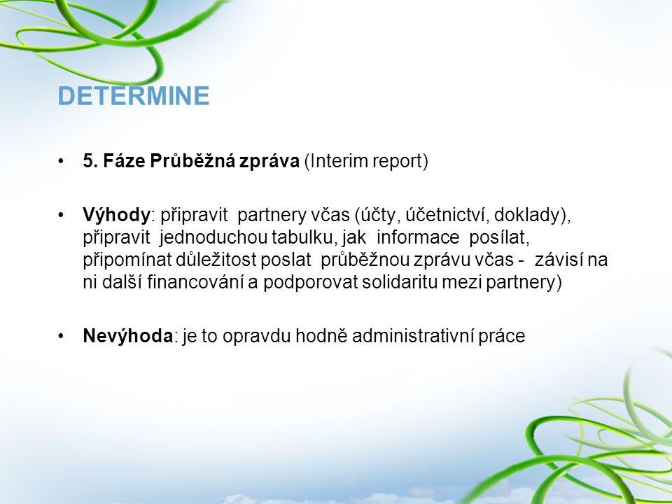 DETERMINE 5. Fáze Průběžná zpráva (Interim report) Výhody: připravit partnery včas (účty, účetnictví, doklady), připravit jednoduchou tabulku, jak inf