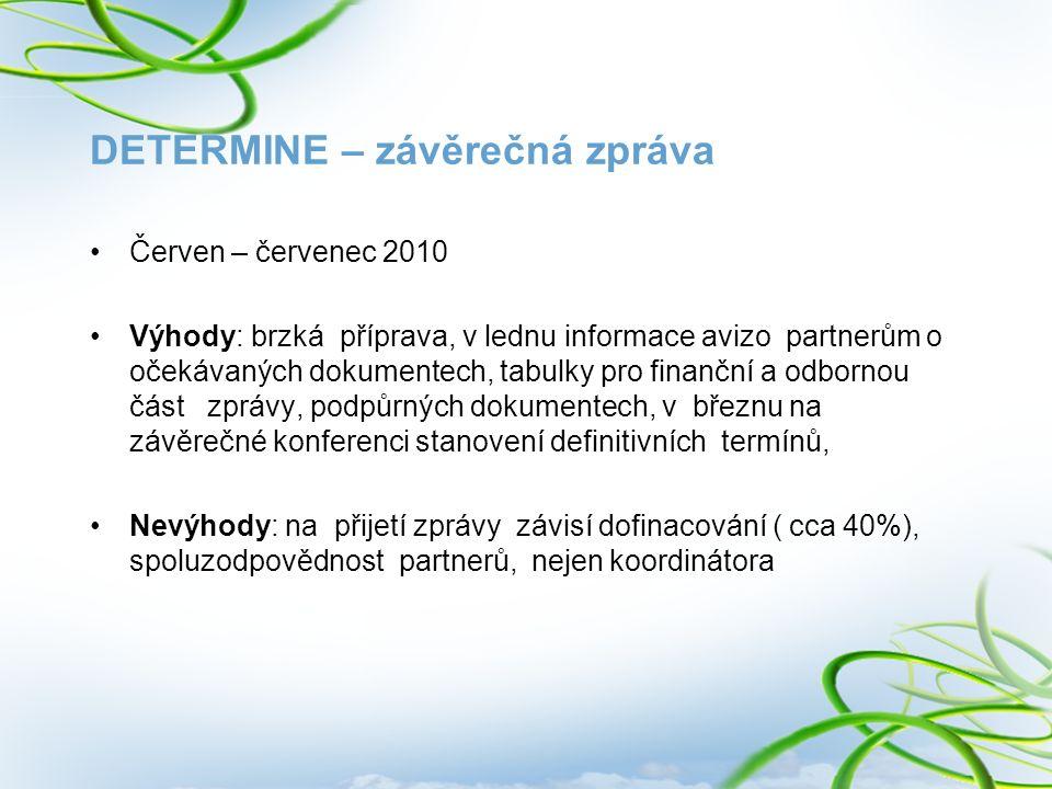 DETERMINE – závěrečná zpráva Červen – červenec 2010 Výhody: brzká příprava, v lednu informace avizo partnerům o očekávaných dokumentech, tabulky pro f