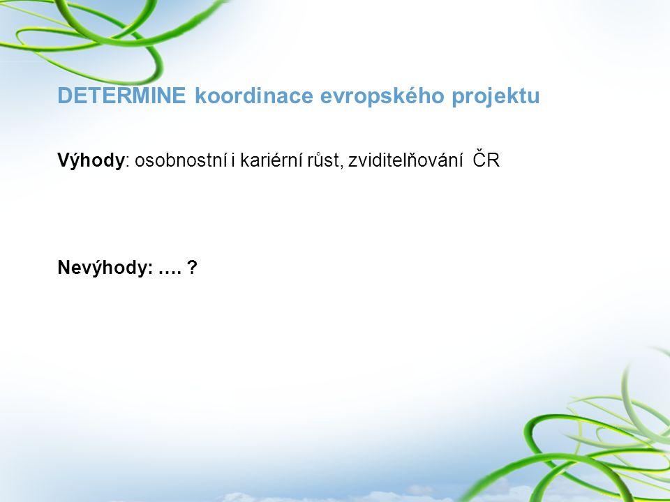 DETERMINE koordinace evropského projektu Výhody: osobnostní i kariérní růst, zviditelňování ČR Nevýhody: …. ?