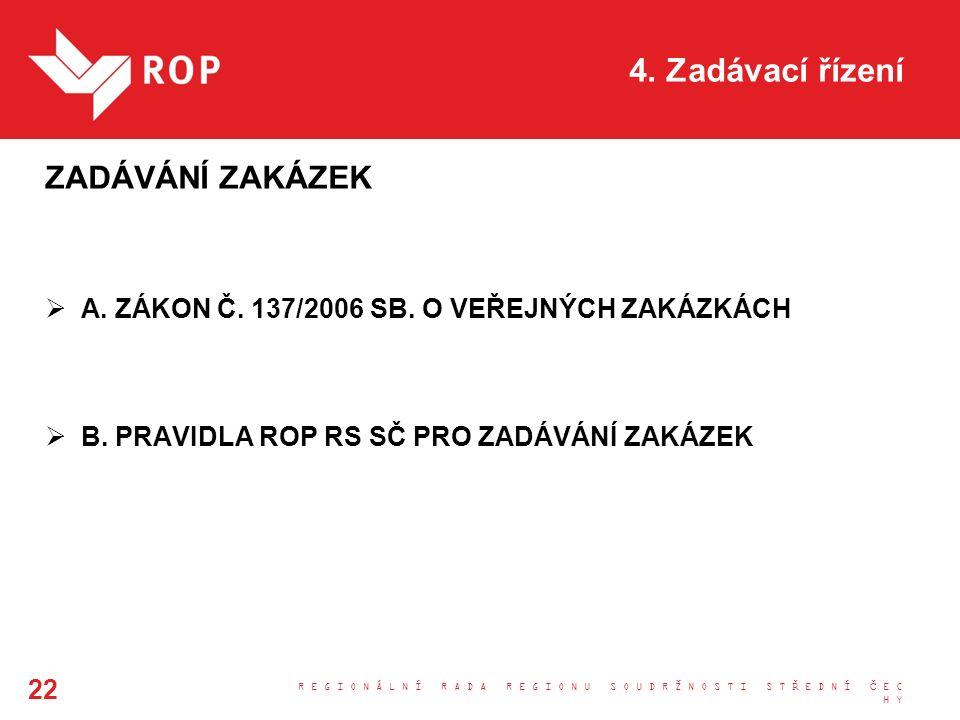 4. Zadávací řízení ZADÁVÁNÍ ZAKÁZEK  A. ZÁKON Č.