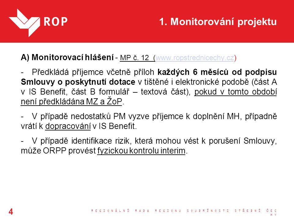 1. Monitorování projektu A) Monitorovací hlášení - MP č. 12 (www.ropstrednicechy.cz)www.ropstrednicechy.cz -Předkládá příjemce včetně příloh každých 6
