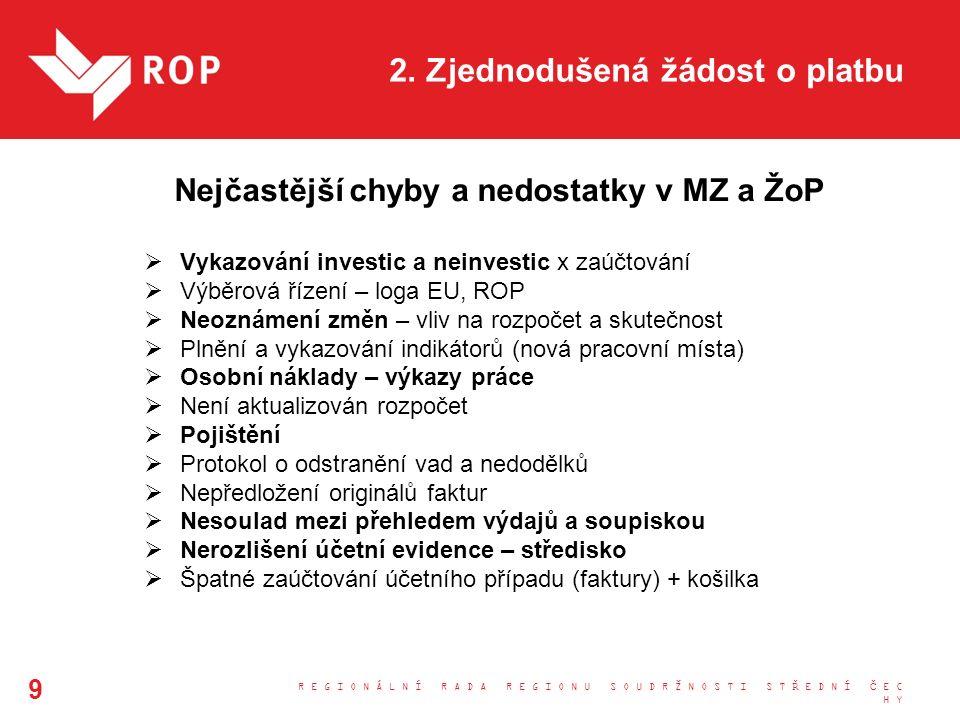 2. Zjednodušená žádost o platbu Nejčastější chyby a nedostatky v MZ a ŽoP  Vykazování investic a neinvestic x zaúčtování  Výběrová řízení – loga EU,
