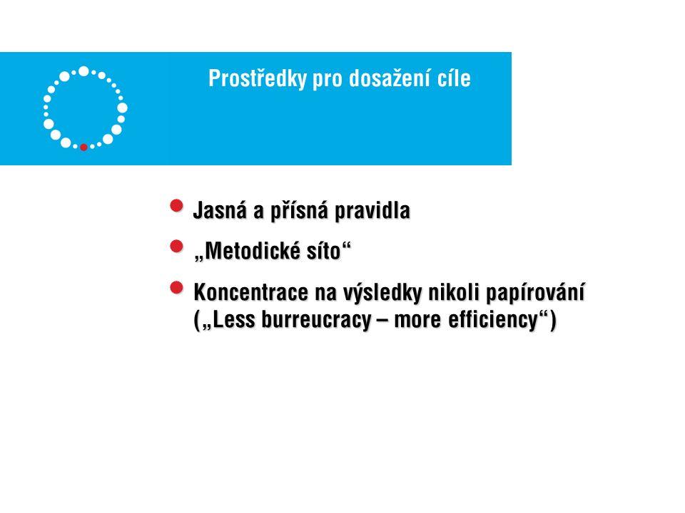 """Prostředky pro dosažení cíle Jasná a přísná pravidla Jasná a přísná pravidla """"Metodické síto """"Metodické síto Koncentrace na výsledky nikoli papírování (""""Less burreucracy – more efficiency ) Koncentrace na výsledky nikoli papírování (""""Less burreucracy – more efficiency )"""