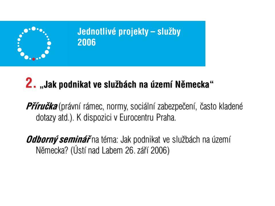 Jednotlivé projekty – služby 2006 Distribuce brožury v rámci ČR a její zpřístupnění na internetu (9800 ks).