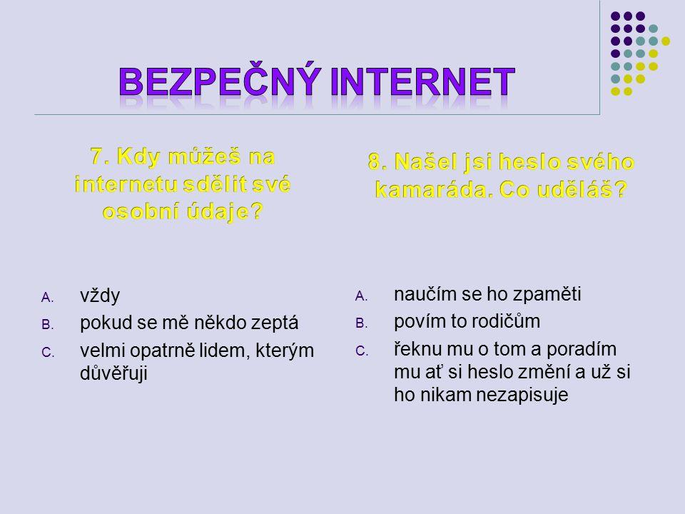 A.pravidla chování ve škole B. pravidla chování na internetu C.