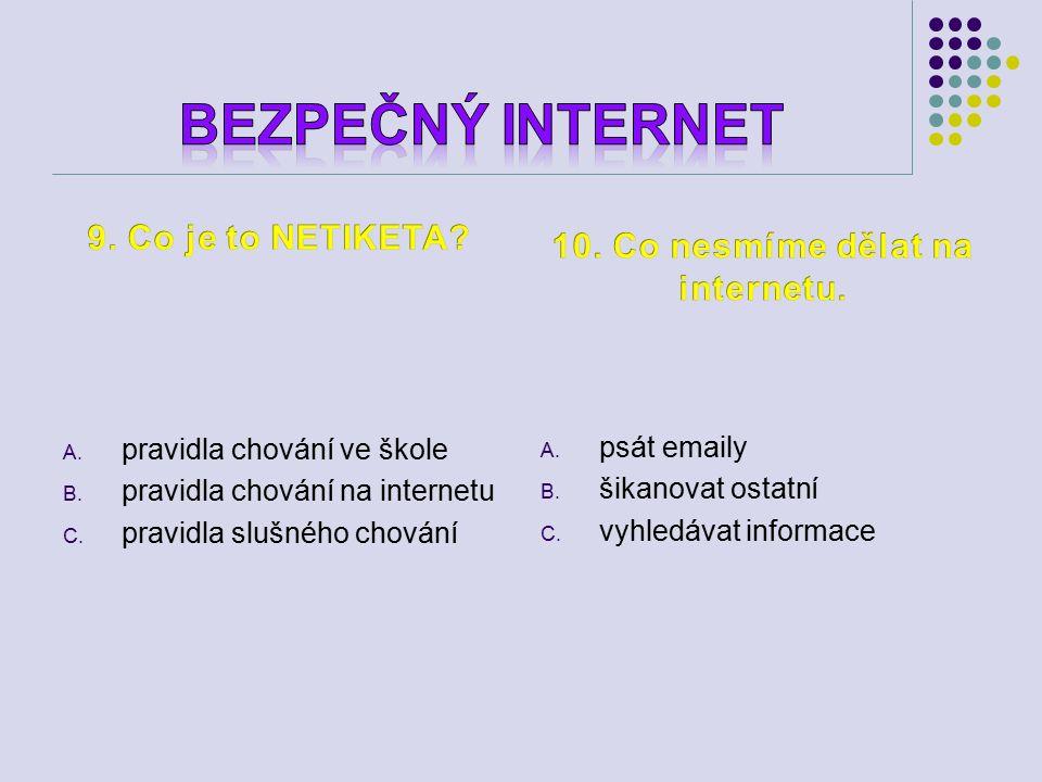 A. pravidla chování ve škole B. pravidla chování na internetu C.