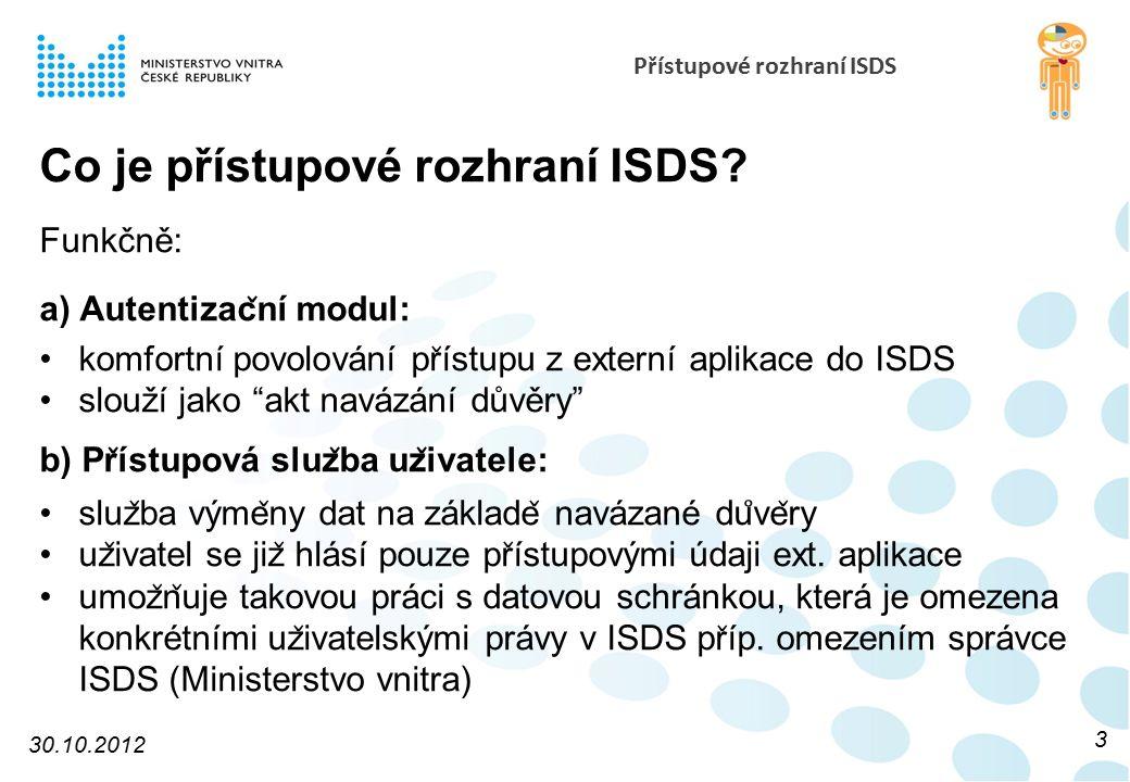 Přístupové rozhraní ISDS Co je přístupové rozhraní ISDS? Funkčně: a) Autentizac ̌ ní modul: komfortní povolování pr ̌ ístupu z externí aplikace