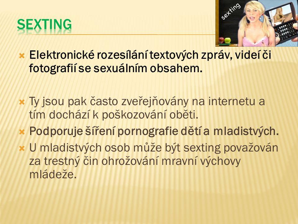  Elektronické rozesílání textových zpráv, videí či fotografií se sexuálním obsahem.