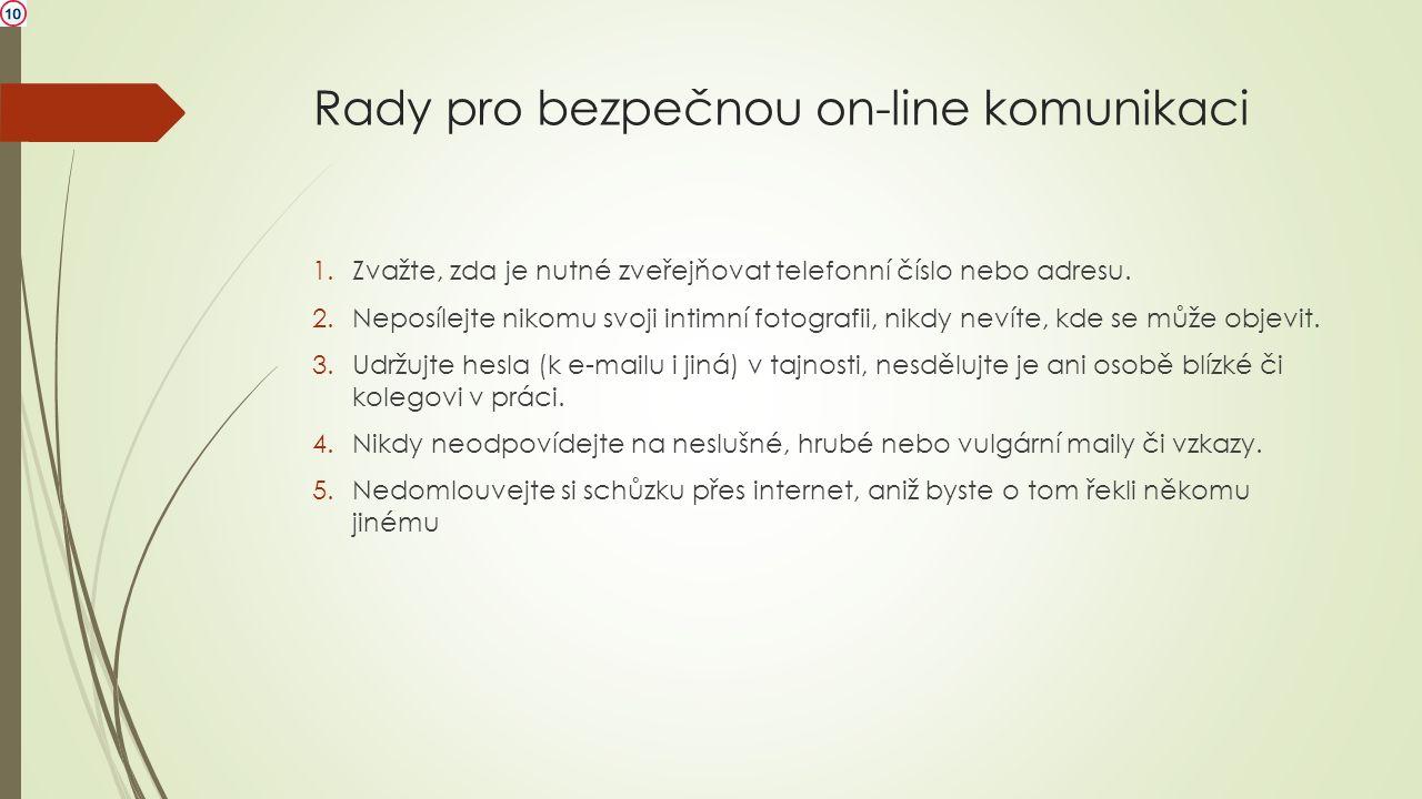 Rady pro bezpečnou on-line komunikaci 1.Zvažte, zda je nutné zveřejňovat telefonní číslo nebo adresu. 2.Neposílejte nikomu svoji intimní fotografii, n
