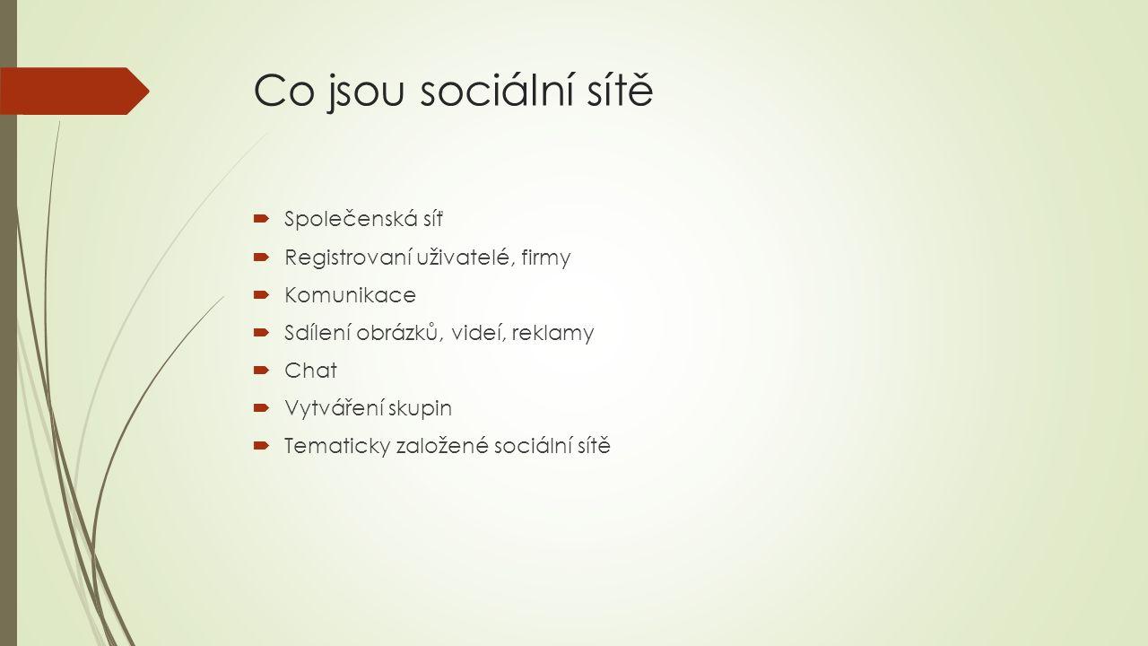 Co jsou sociální sítě  Společenská síť  Registrovaní uživatelé, firmy  Komunikace  Sdílení obrázků, videí, reklamy  Chat  Vytváření skupin  Tematicky založené sociální sítě