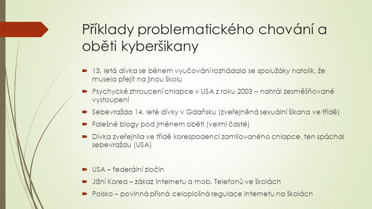 Příklady problematického chování a oběti kyberšikany  13.
