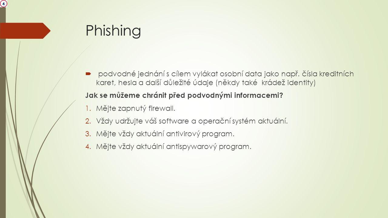 Phishing  podvodné jednání s cílem vylákat osobní data jako např. čísla kreditních karet, hesla a další důležité údaje (někdy také krádež identity) J