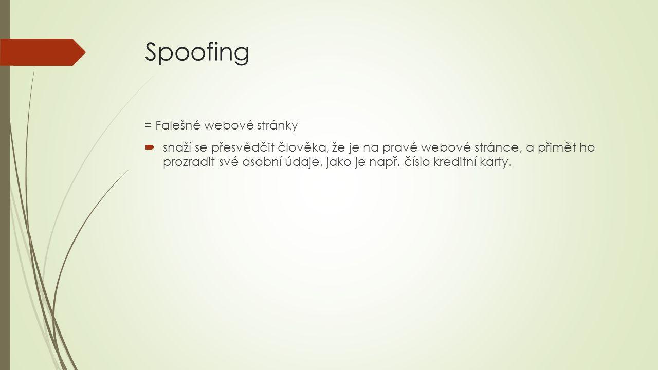 Spoofing = Falešné webové stránky  snaží se přesvědčit člověka, že je na pravé webové stránce, a přimět ho prozradit své osobní údaje, jako je např.