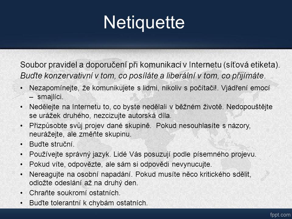 Netiquette Soubor pravidel a doporučení při komunikaci v Internetu (síťová etiketa).