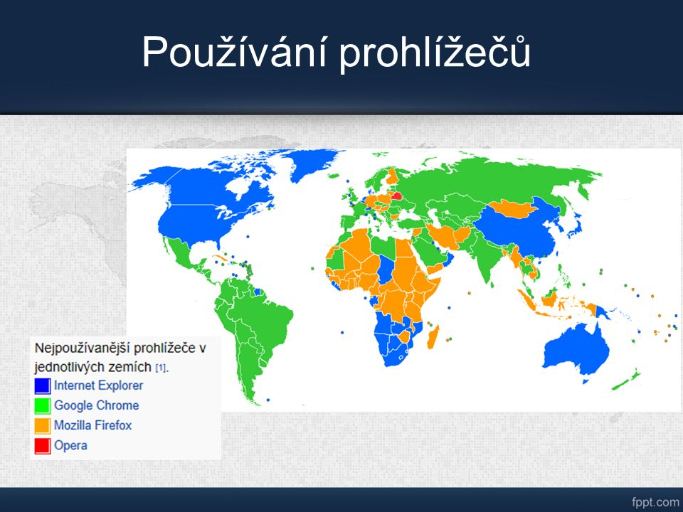 Zdroje: Countries by most used web browser.svg.In: Wikipedia: the free encyclopedia [online].