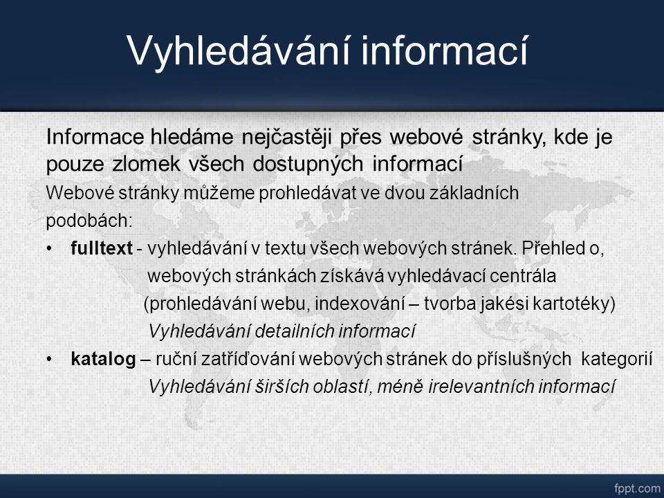 Vyhledávání informací Informace hledáme nejčastěji přes webové stránky, kde je pouze zlomek všech dostupných informací Webové stránky můžeme prohledávat ve dvou základních podobách: fulltext - vyhledávání v textu všech webových stránek.